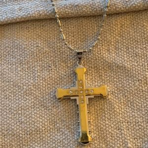 Other - Stainless Steel Cross.  Gold tone with Rhinestones